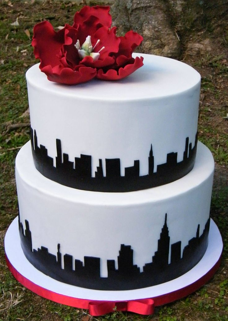 NY Skyline Wedding Cake Cakes Made By Me Pinterest