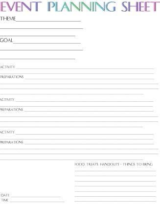 Event Planning Sheet | CHURCH | Pinterest