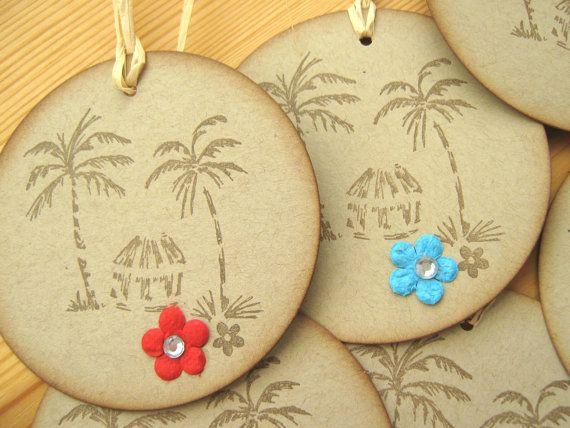 Wedding Gift From Hawaii : Hawaii Island Style Beach Hut and Palm Tree Gift Tags, Hawaii Wedding ...