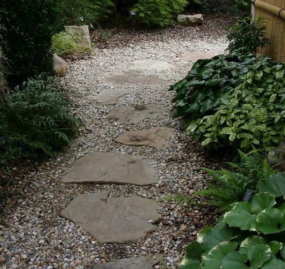 Stepping stones and gravel path garden pinterest for Garden path stones