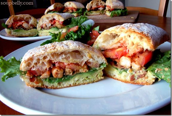 This is a BLAST. Bacon, lettuce, avocado, shrimp, and tomato sandwich ...