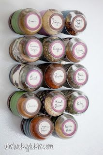 Magnetic spice jars from baby food containers | One Lucky Pickle