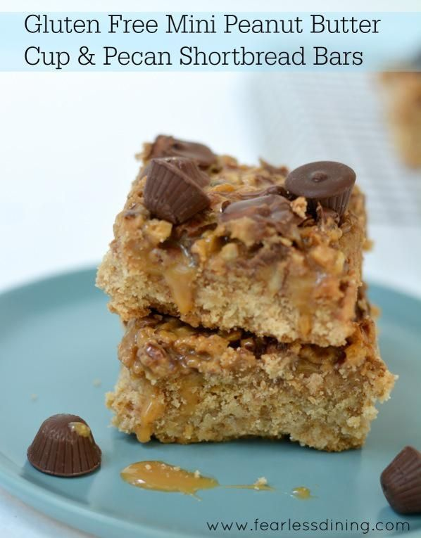 Gluten Free Mini Peanut Butter Cup and Pecan Shortbread Cookie Bars. # ...