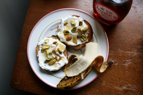 ... whole-grain toast ( or bagel) with Greek yogurt, pistachios, and honey