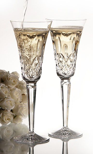 Waterford I Love Lismore Toasting Flutes, Pair