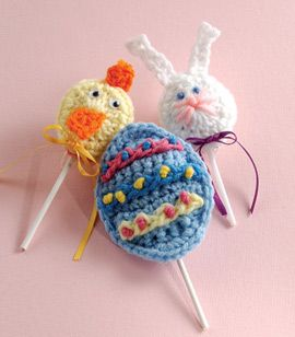 "Free pattern for ""Lollipop Covers""...these would be so cute (and different) in your Easter baskets!"