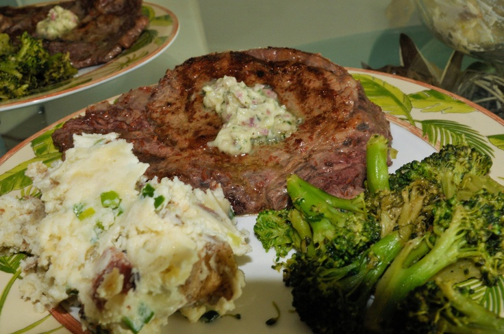 ... garlic-parsley butter, loaded mashed potatoes, and sauteed broccoli