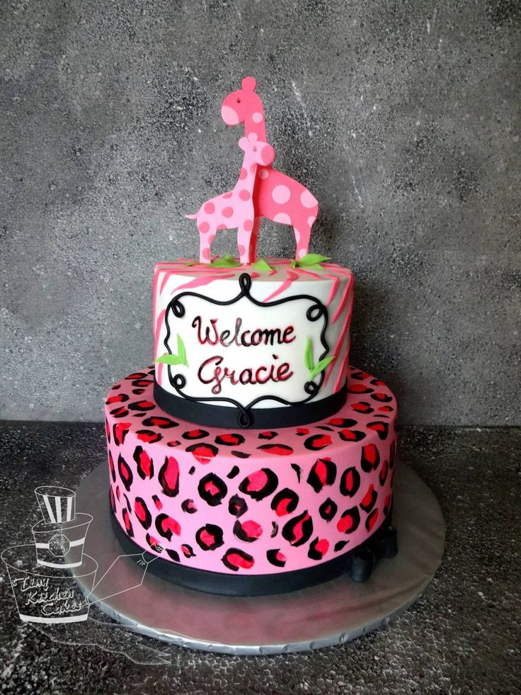 safari pink baby shower cake with giraffes tiny kitchen cakes