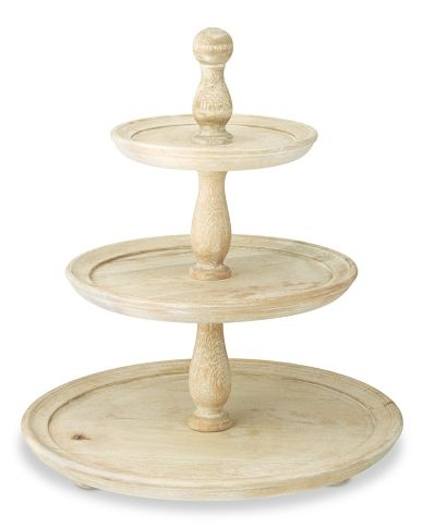 White Washed Wood Cake Stand