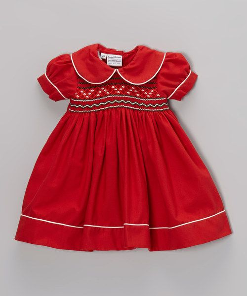 Red smocked christmas dress sewing pinterest