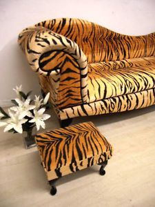 Tiger animal print chaise lounge double ended sofa animal for Animal print chaise longue