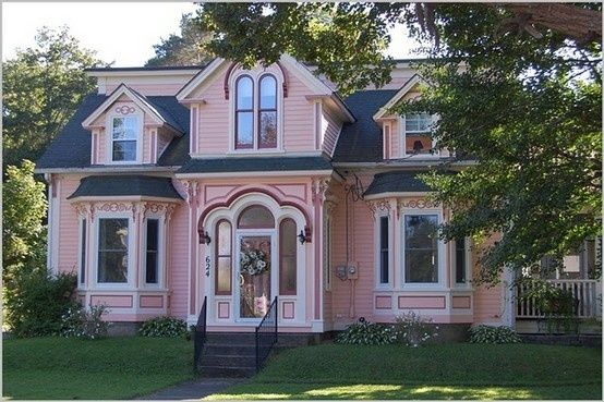 Pink Burgundy Trim Victorian Exterior House Paint Ideas