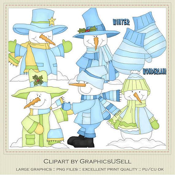 Winter Wonderland Snowmen Clip Art Graphics by by marlodeedesigns, $1 ...