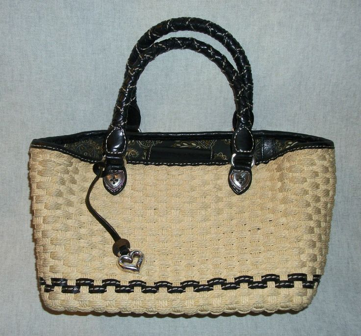 BRIGHTON Natural Straw & Black Leather Handbag with Silver Heart Accents GUC $34.99 obo