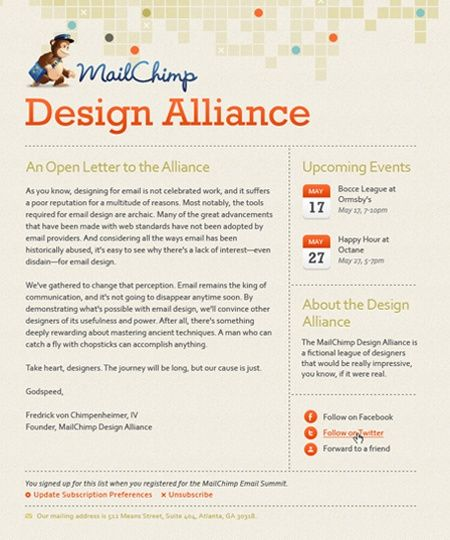 mailchimp newsletter | Web Designs | Pinterest
