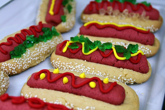 hot dog cookies - colored sugar cookie dough with chopped gummi bears ...