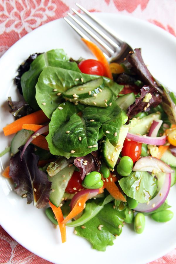 Healthy Edamame Salad with rice vinegar, soy sauce and sesame seed ...
