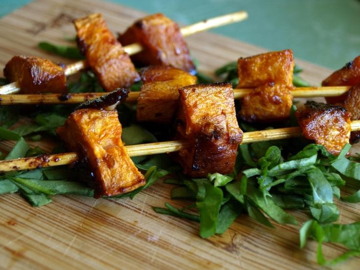 Chipotle-Honey Glazed Sweet Potato Skewers   Vegetable sides ...