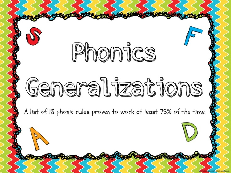 Phonics Generalizations - A FREE handout listing the 18 phonic rules that have been proven to work at least 75% of the time.