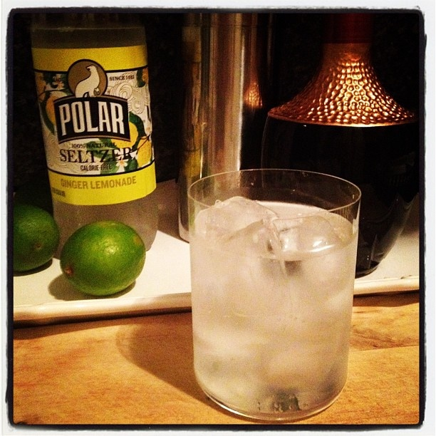 Sparkling Ginger Lemonade Seltzer, Lime Juice & Anejo Tequila. #FRIDAY