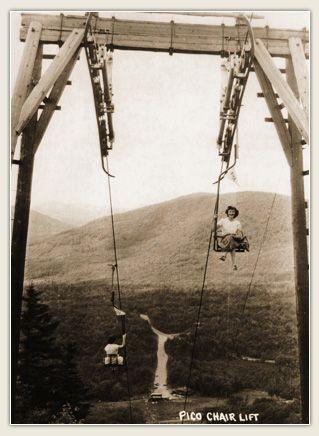 The first ski chair lift in north america pico mountain killington
