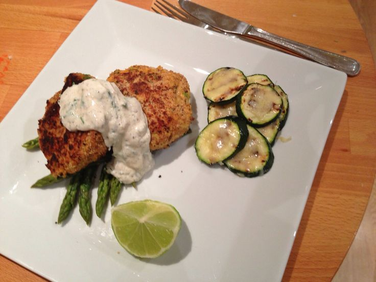 Salmon and sweet potato fish cakes with black pepper and lemon Creme ...