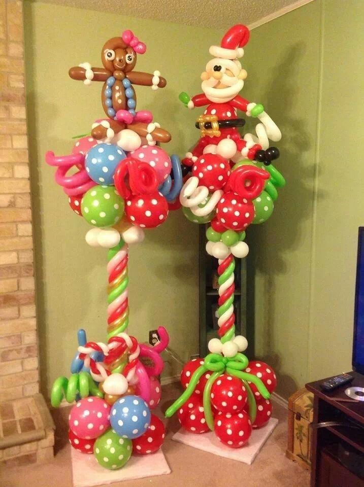 Christmas column balloon columns columnas globos - Decoracion de navidad con globos ...