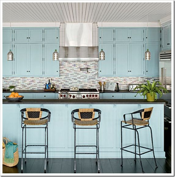 Coastal kitchens via sand and sisal bloggers we love for Beach kitchen cabinets