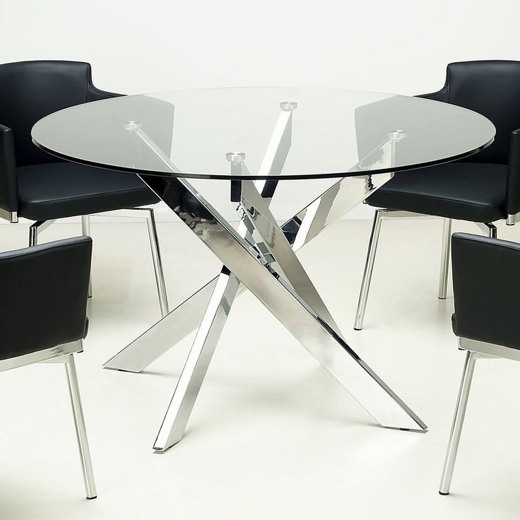 Round glass top chrome dining table for Round glass and chrome dining table