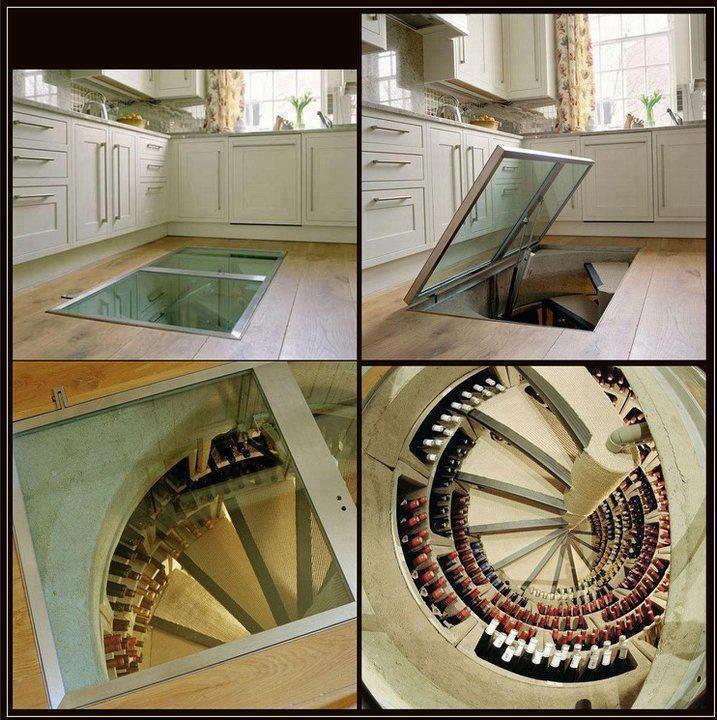 Wine Cellar below the kitchen floor.  Great Idea!  Pinterest