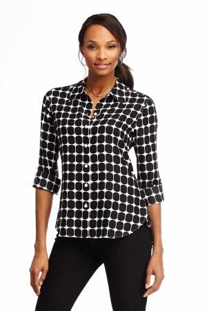 Wrinkle-Free Dot Blouse By Foxcroft 92