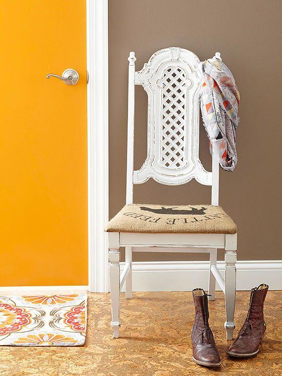 Burlap chair upholstery