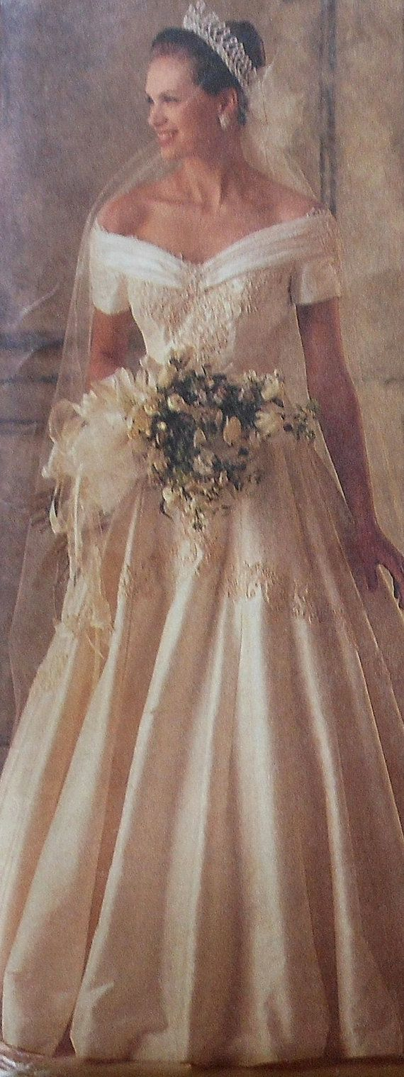 Wedding gown sewing pattern uncut mccalls 6951 size 10 off for Sewing patterns wedding dress