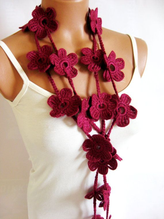 Crochet Burgundy Flower Lariat Scarf Fashion Flower Scarves Necklace  Fashion Scarves To Crochet