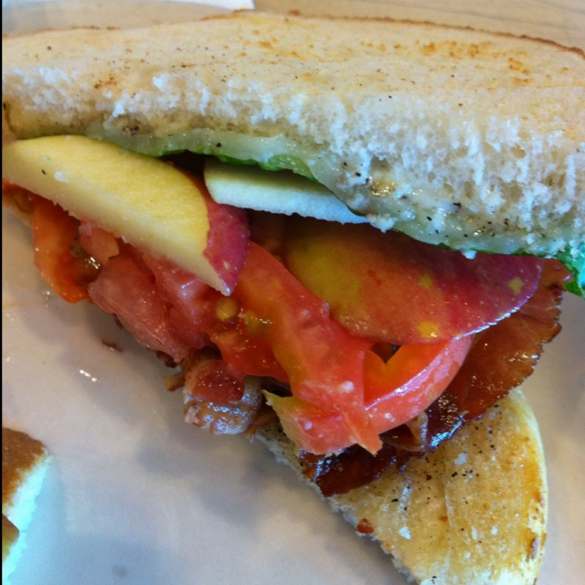 sandwich from Coffee Repiblic...sourdough, tomato, lettuce, pepper ...