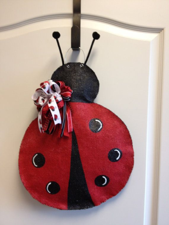 Burlap Ladybug Door Hanger by ILoveItDesigns on Etsy, $30.00