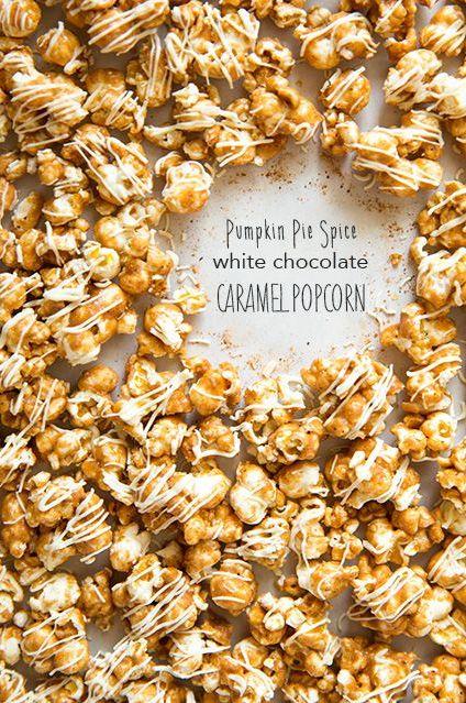 white chocolate carmel corn with Pumpkin pie spice