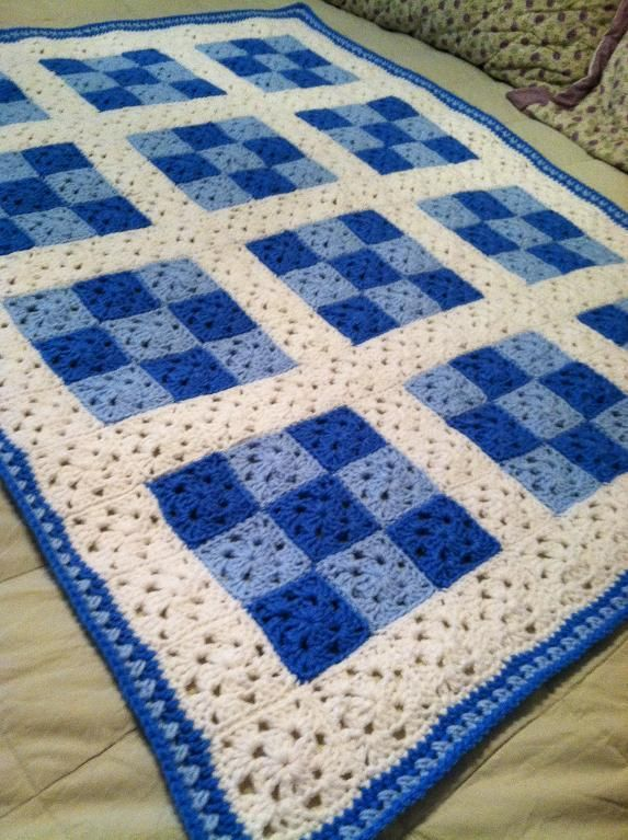 Crochet Quilt Afghan : Crocheting: 9 Patch Baby Blanket for Boy CRAFT - Crochet Pinterest
