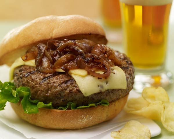 Brewpub Burgers with Caramelized Chipotle Onions Recipe