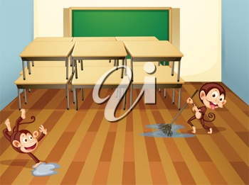 monkeys cleaning up the classroom | clip art | Pinterest