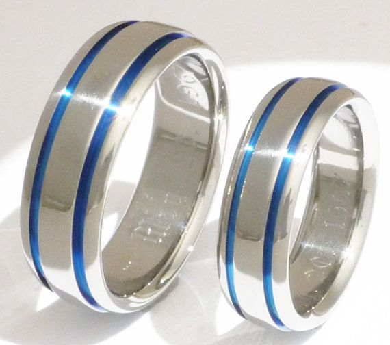 his and hers matching blue titanium wedding bands stb10