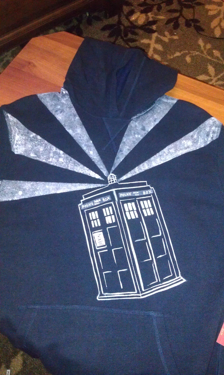 TARDIS hoodie. Made with freezer paper stencils, acrylic paint, and