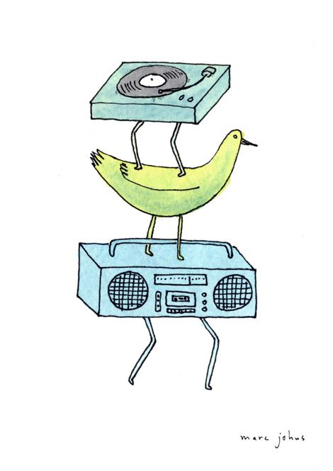 record player / bird / boombox