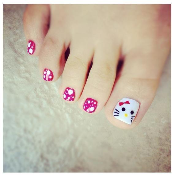 Hello kitty toe nail art toe nails pinterest