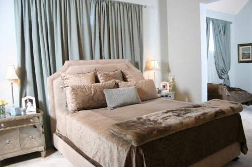 curtains behind bed | For the Home | Pinterest