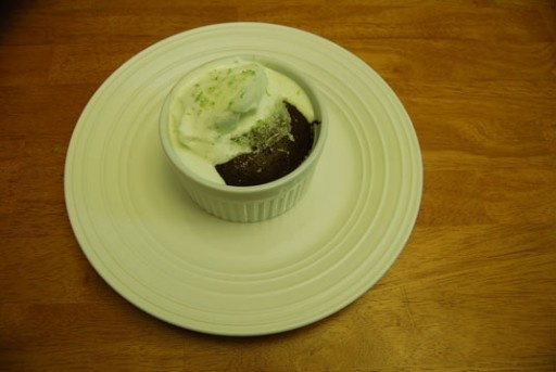 Dark Chocolate Lime Souffles topped with lime whipped cream and a ...