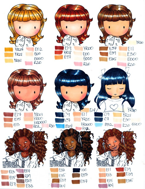 copic hair and skin chart