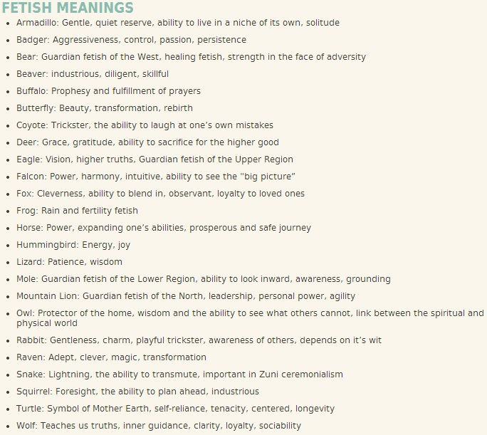 Zuni Fetish Meanings 59
