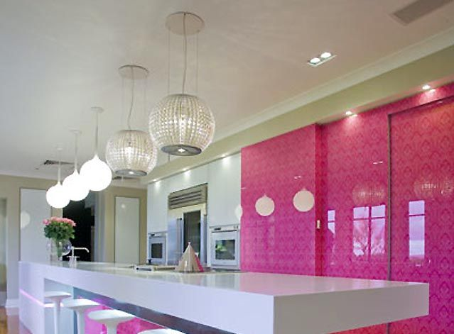 Modern pink and white kitchen!  Rooms I want in my house )  Pinter