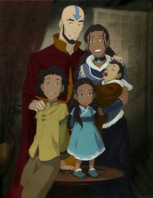 ... Aang and Katara Family Photo (Avatar Aang, Katara, Bumi, Kya and